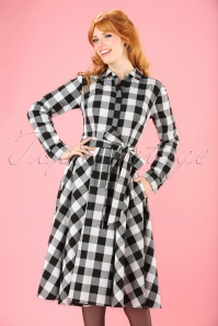50s Mara Checked Shirt Dress in Black and White