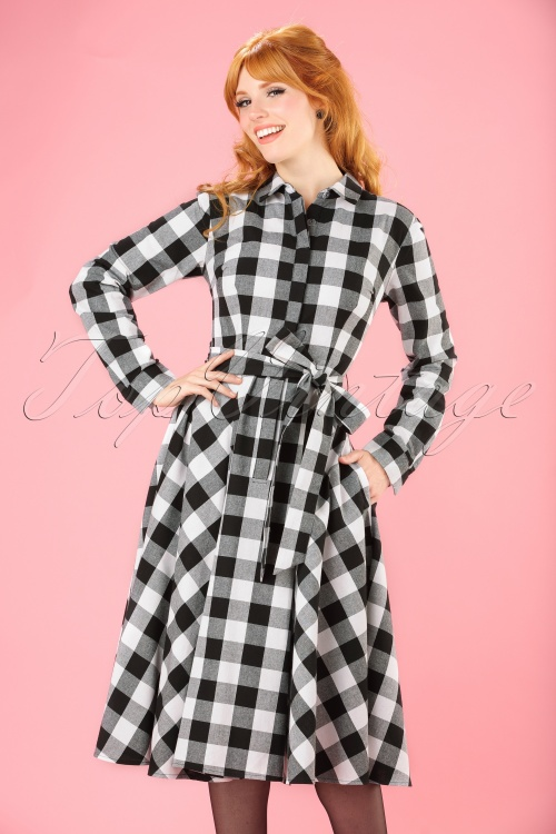 Collectif Clothing Mara Checked Shirt Dress in Black and white 21835 20170613 model01W