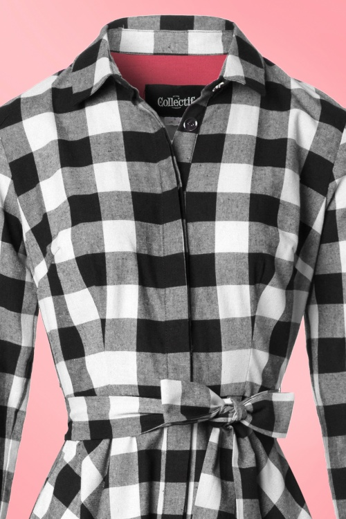 50s mara checked shirt dress in black and white for Black and white checker shirt