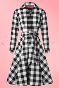 Collectif Clothing Mara Checked Shirt Dress in Black and white 21835 20170613 014