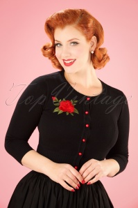 Collectif Clothing 50s Jessie Rose Cardigan in Black 21815 20170609 01W