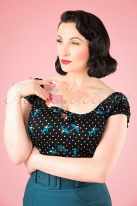 Collectif Clothing Lorna Rockabilly Swallows Top in Black 21947 20170607 1W