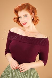 Collectif Clothing Bridgette Knitted Top in Red 21821 20170606 0014W