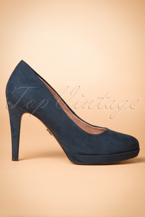 50s classy suedine heart sole pumps in navy. Black Bedroom Furniture Sets. Home Design Ideas