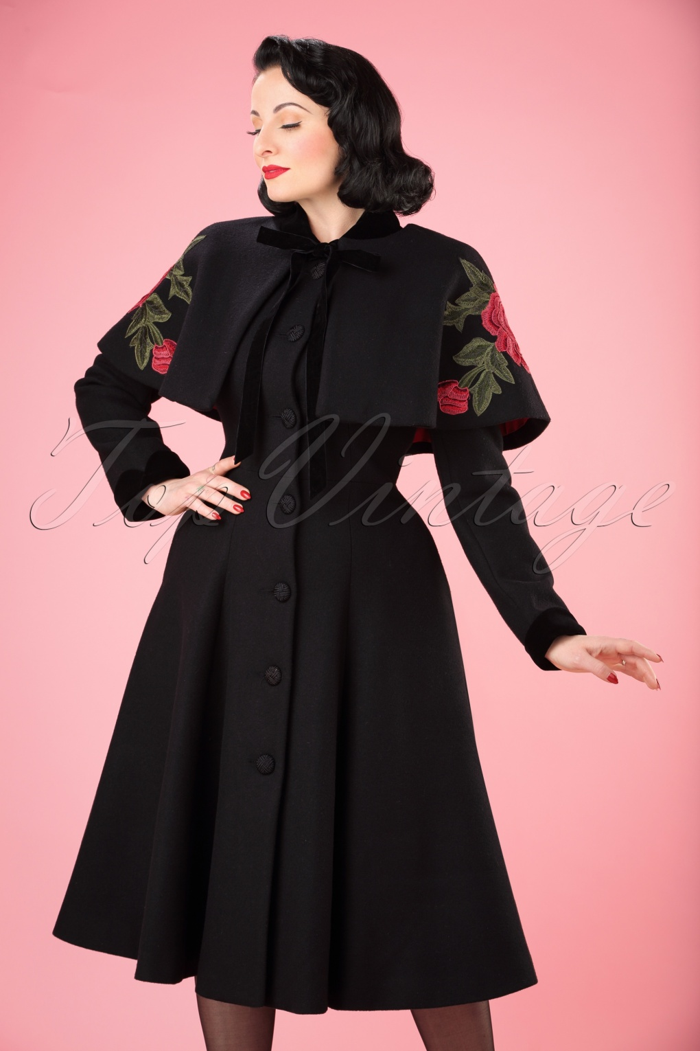 40s claudia coat and floral cape in black wool for Best wool shirt jackets