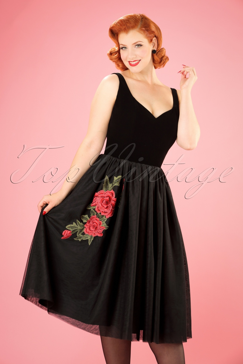 1950s Prom Dresses & Party Dresses 50s Isla Rose Swing Dress in Black £108.34 AT vintagedancer.com