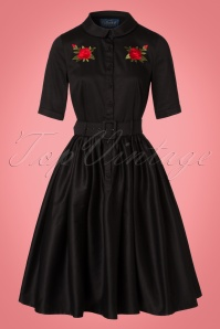 Collectif Clothing Aria Rose Embroidery Shirt Dress in Black 21865 20170614 0010W
