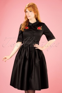 50s Aria Rose Shirt Dress in Black