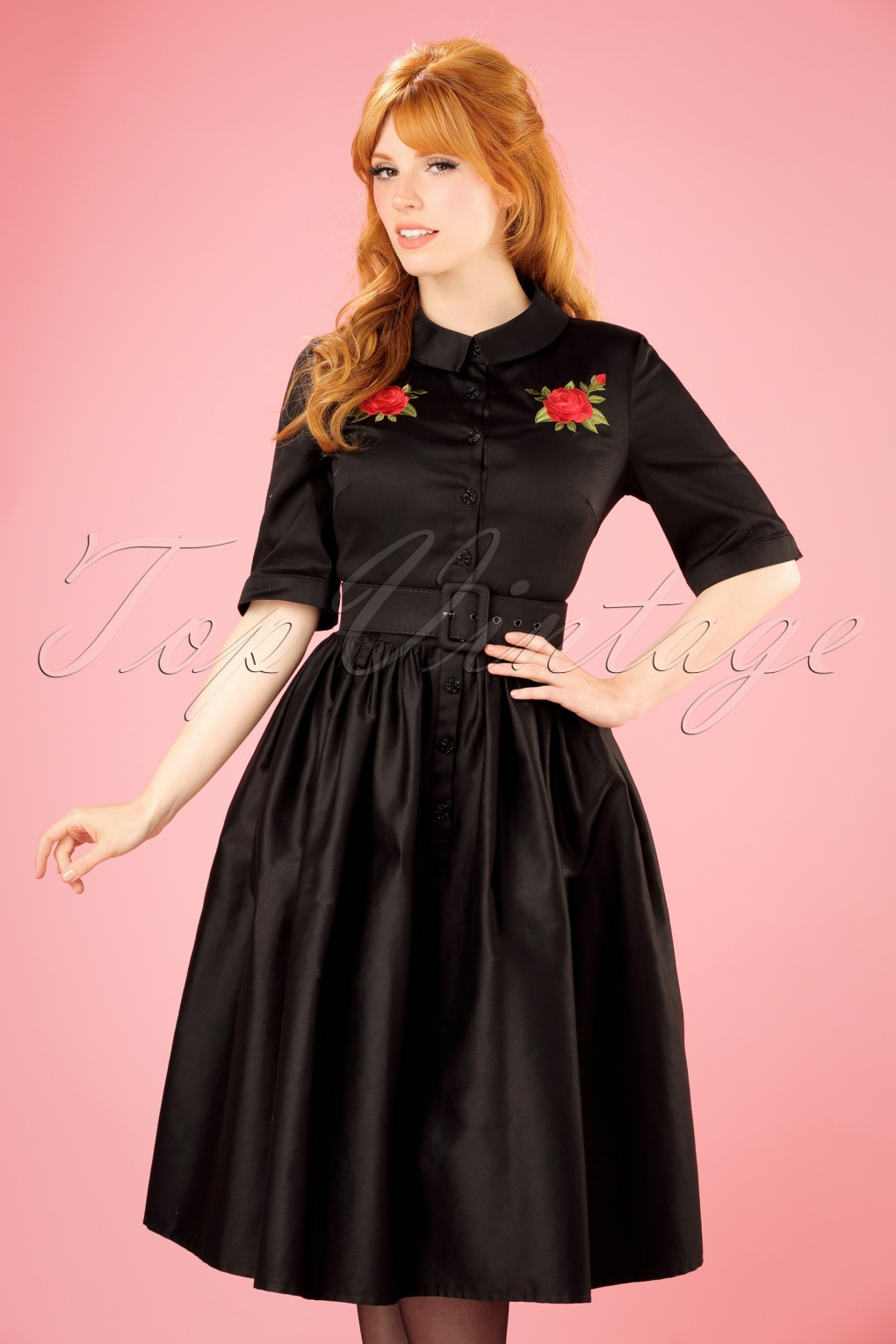 1950s Prom Dresses & Party Dresses 50s Aria Rose Shirt Dress in Black £89.97 AT vintagedancer.com