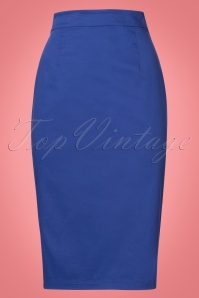 Collectif Clothing Polly Classic Blue Pencil Skirt 21885 20170606 0006W