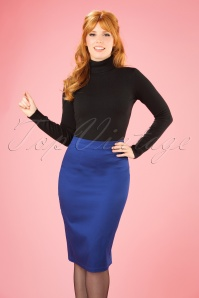 Collectif Clothing Polly Classic Blue Pencil Skirt 21885 20170606 01W