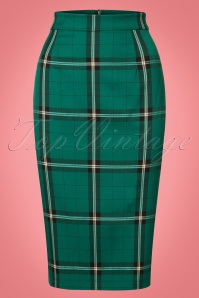 50s Polly Evergreen Check Pencil Skirt in Green
