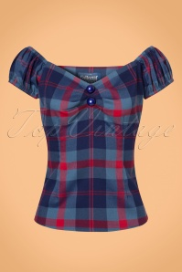 50s Dolores Merida Check Top in Blue and Red