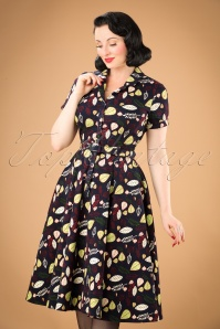 40s Caterina Woodland Leaves Swing Dress in Navy