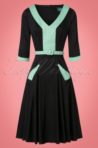 Collectif Clothing Stella Swing Dress in Black and Green 21839 20170615 0013w