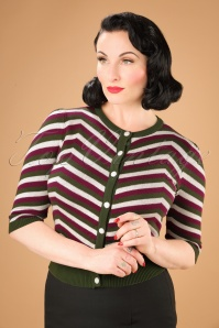 Collectif Clothing Holly Chevron Cardigan in Olive 21811 20170609 01W