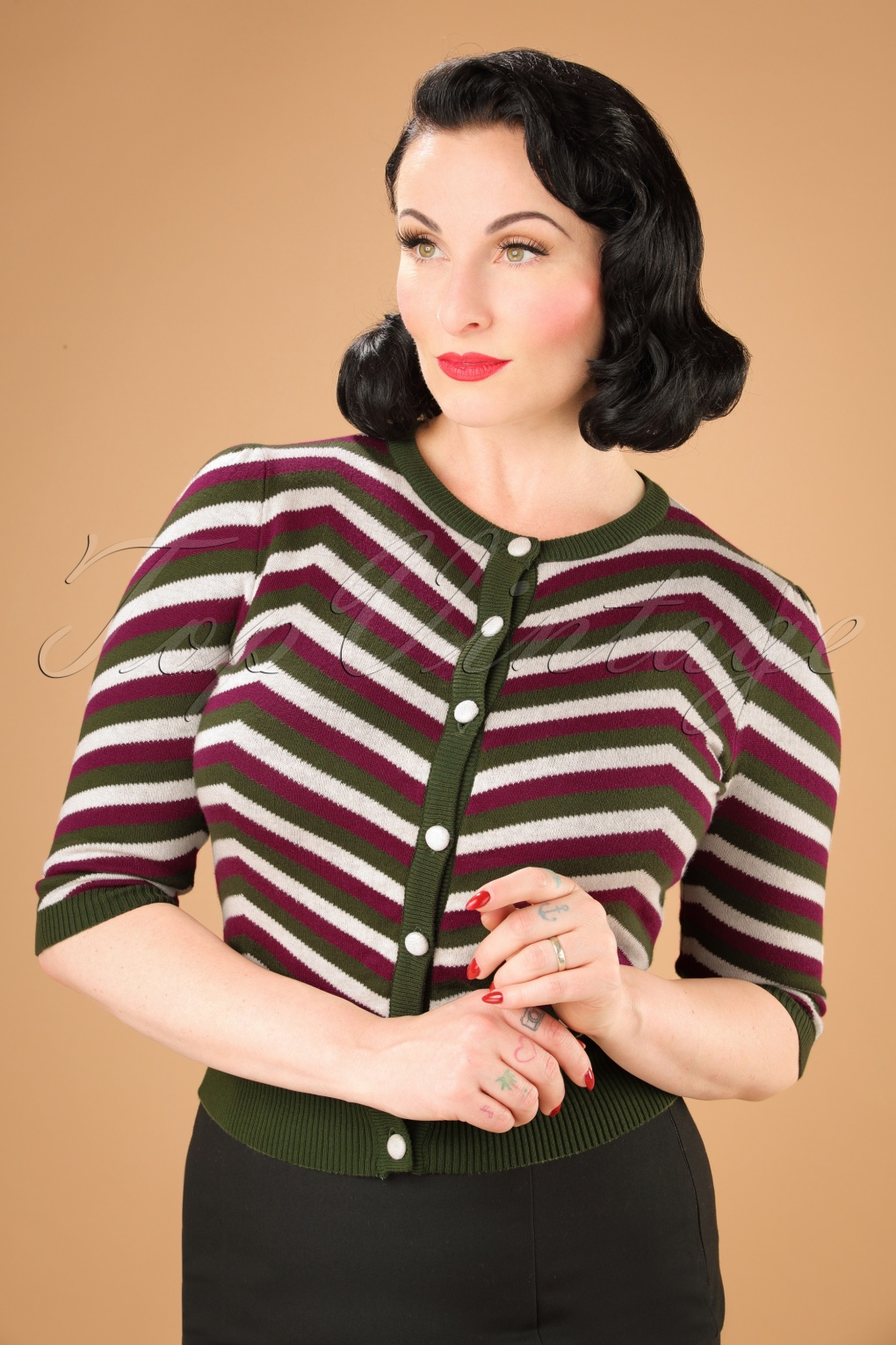 Retro Vintage Sweaters 40s Holly Chevron Cardigan in Olive £52.91 AT vintagedancer.com