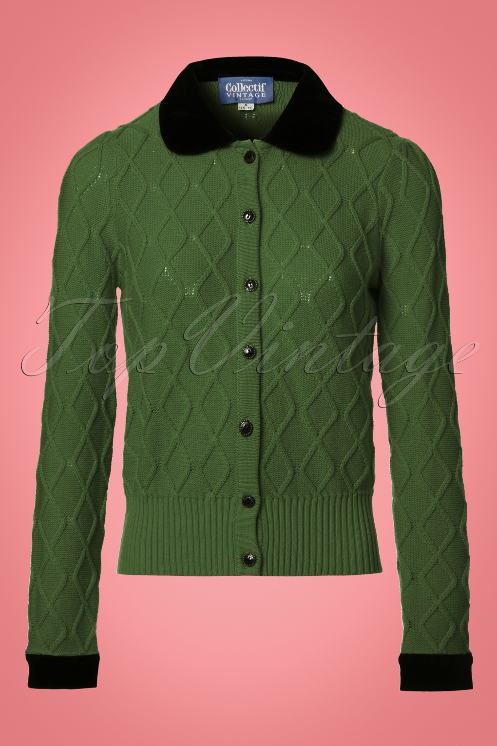 Vintage Sweaters: Cable Knit, Fair Isle Cardigans & Sweaters 40s Imogen Velvet Cardigan in Olive Green £55.07 AT vintagedancer.com