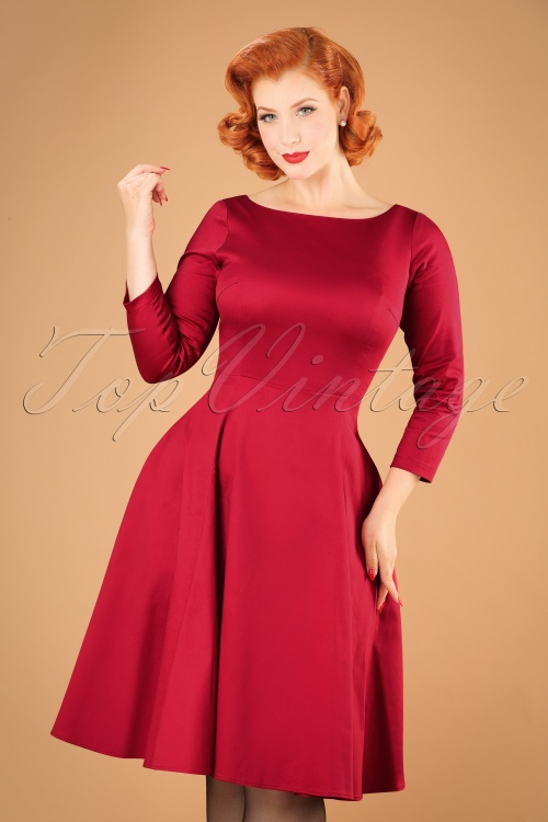 Collectif Clothing Delphine Plain Swing Dress in Red 21846 20170612 0017w
