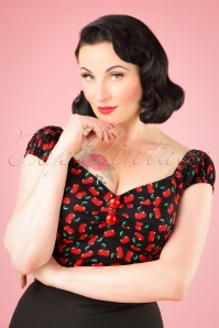 Collectif Clothing Dolores Small Cherries Top in Black 21951 20170607 0009W