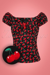 50s Dolores Small Cherries Top in Black