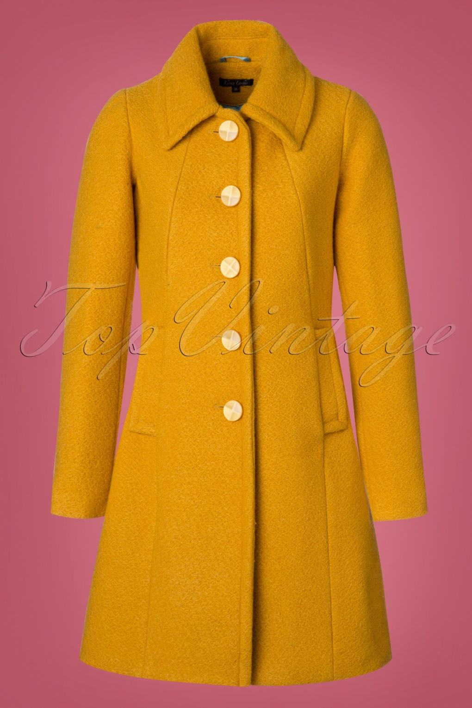 Retro Vintage Style Coats, Jackets, Fur Stoles 60s Laura Veggie Coat in Honey Yellow £161.09 AT vintagedancer.com