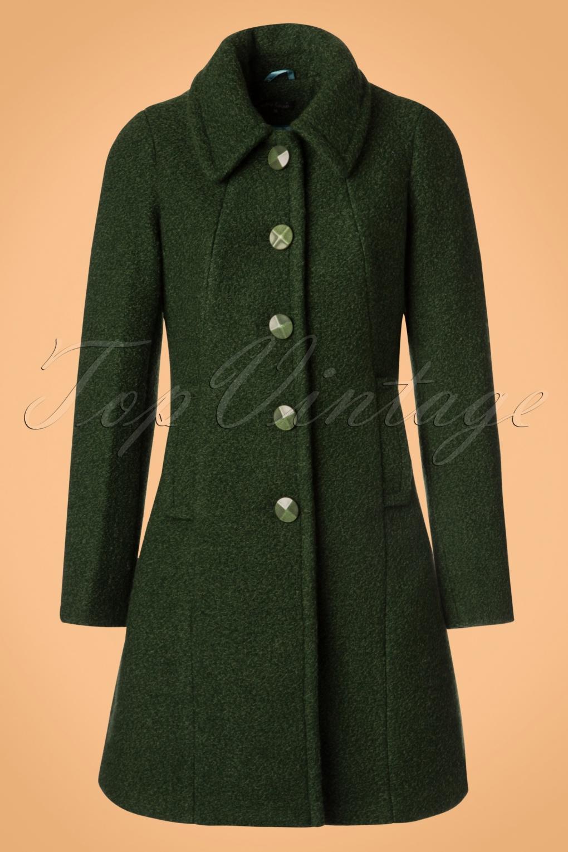 Retro Vintage Style Coats, Jackets, Fur Stoles 60s Laura Veggie Coat in Forest Green £161.09 AT vintagedancer.com