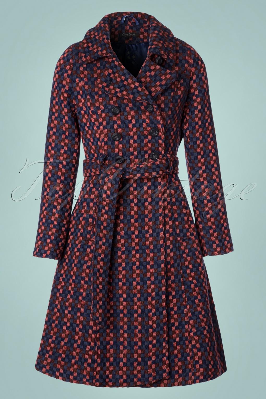 Retro Vintage Style Coats, Jackets, Fur Stoles 60s Simone Orleans Coat in Dark Navy £181.50 AT vintagedancer.com