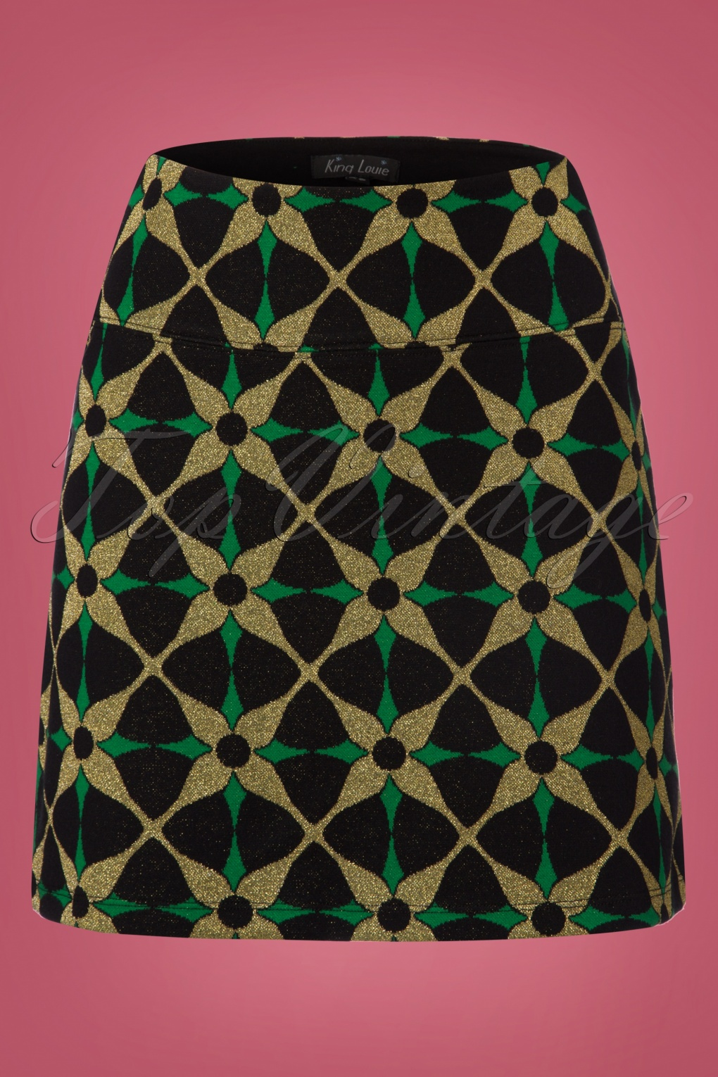 Retro Skirts: Vintage, Pencil, Circle, & Plus Sizes 60s Kaleido Borderskirt in Black £63.12 AT vintagedancer.com