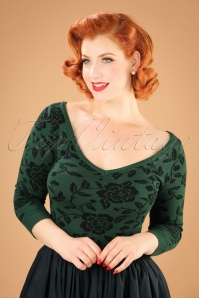 50s Bardot Brocade Roses Jumper in Green