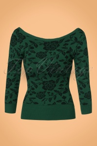 Collectif Clothing Bardot Rose Brocade Boat Neck Jumper 21816 20170606 0013W