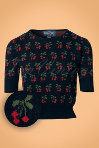 Collectif Clothing Chrissy Cherry Jumper in Navy 21817 20170609 0003W1