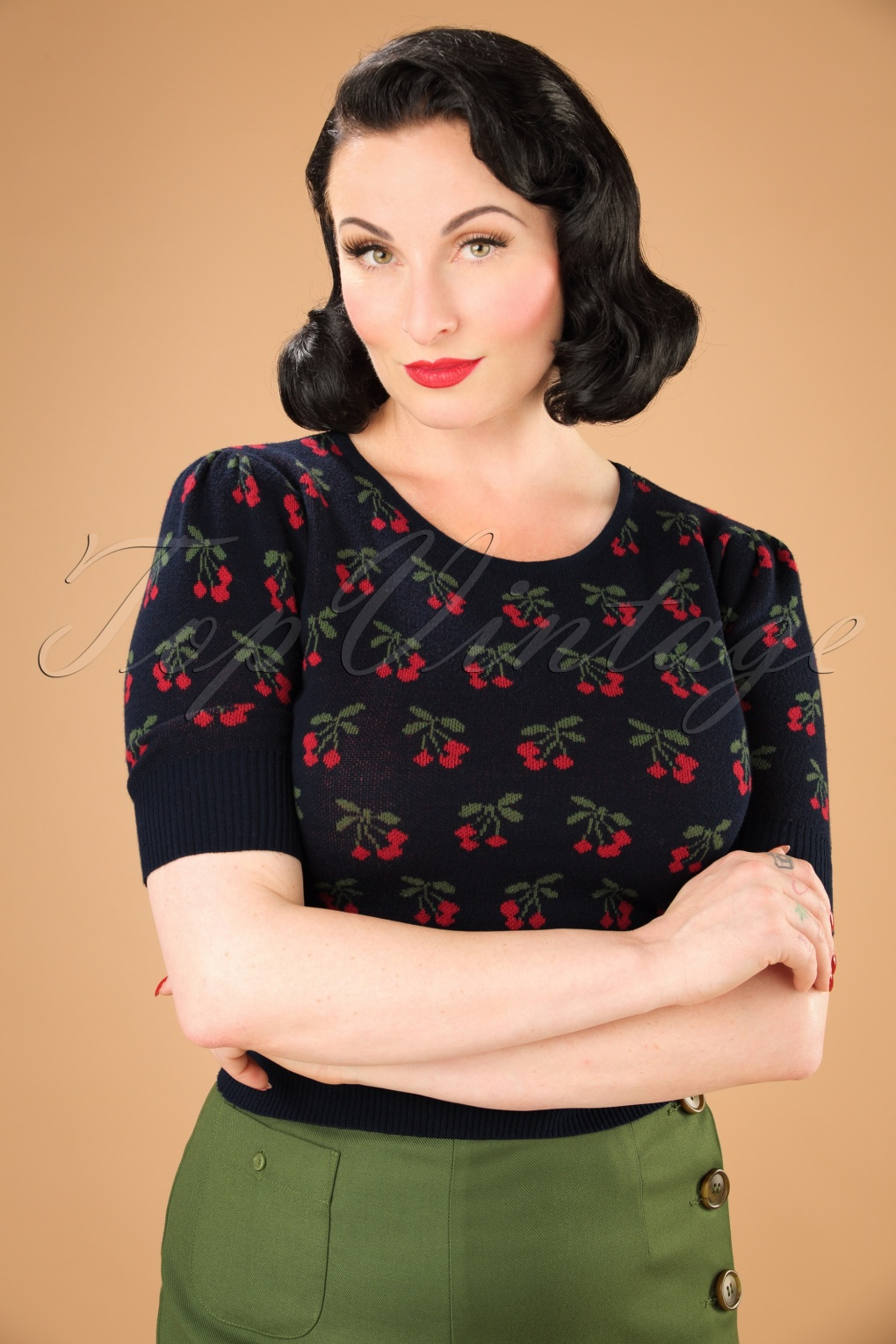 1950s Style Sweaters, Crop Cardigans, Twin Sets 50s Chrissie Cherry Jumper in Navy £40.56 AT vintagedancer.com