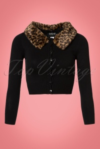 Collectif Clothing 50s Pietra Fur Collar Cardigan in Black 21767 20170609 0005W