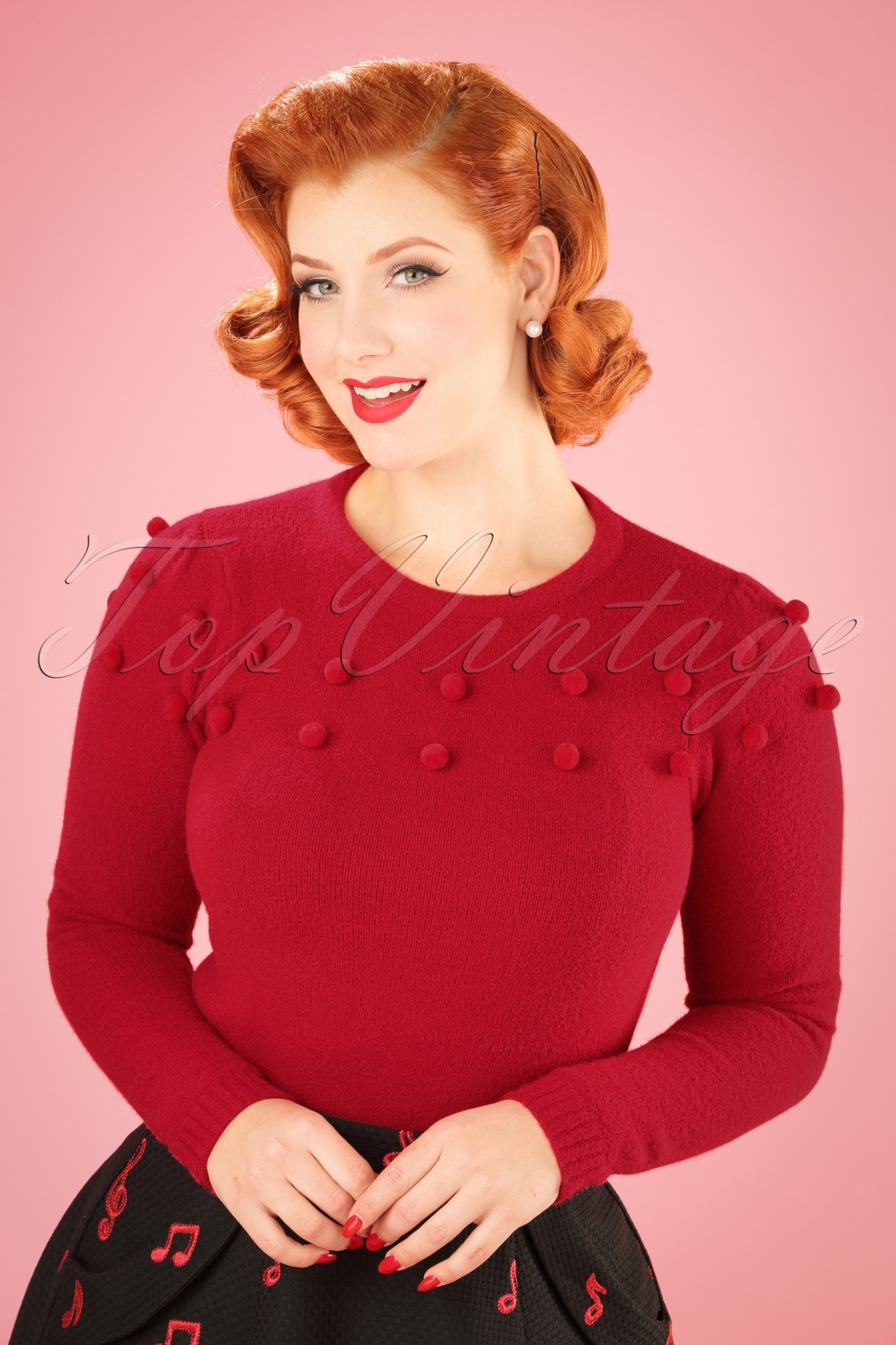 1950s Style Sweaters, Crop Cardigans, Twin Sets 50s Barbara Pom Pom Jumper in Red £52.29 AT vintagedancer.com