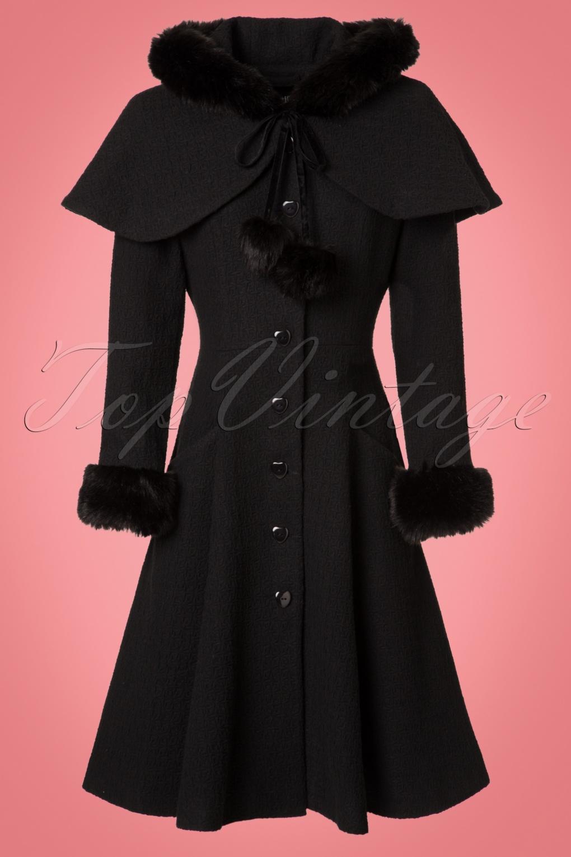 Retro Vintage Style Coats, Jackets, Fur Stoles 40s Adelita Coat and Cape in Black £172.43 AT vintagedancer.com