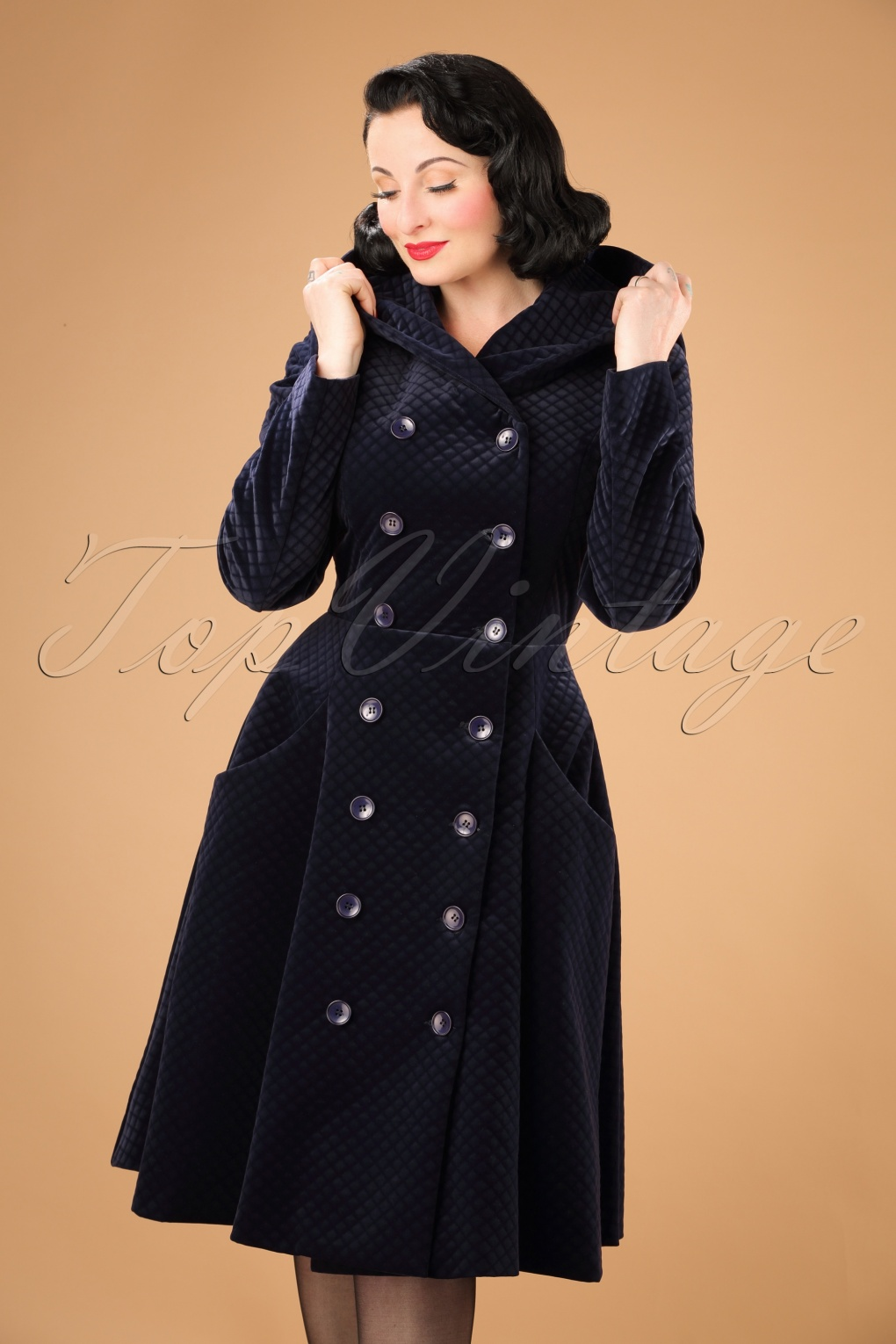 1950s Jackets and Coats | Swing, Pin Up, Rockabilly 50s Heather Hooded Quilted Velvet Coat in Navy £183.66 AT vintagedancer.com