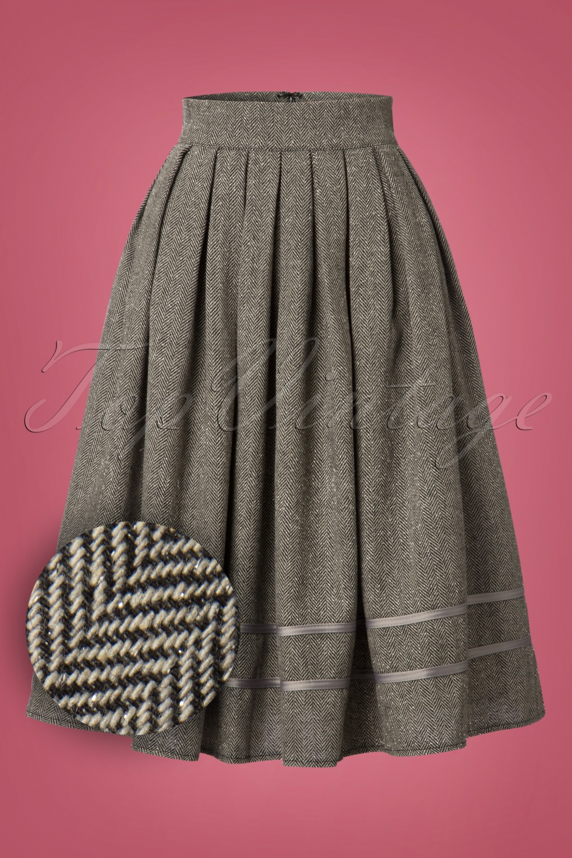 Retro Skirts: Vintage, Pencil, Circle, & Plus Sizes 50s Izzy Swing Skirt in Herringbone Grey £42.50 AT vintagedancer.com