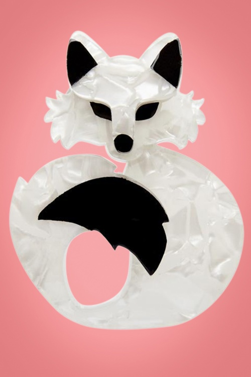Erstwilder Shes So Foxy Brooch Cream White Front 32028 1