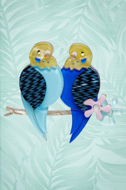 Erstwilder Best Budgies Bird Brooch Blue Box 340 30 23033 2