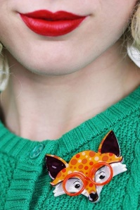Erstwilder Oscar Wildenfox Brooch Orange Yellow Front 23030 3