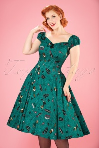 50s Dolores Vegas Vamp Doll Dress in Teal
