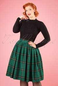 50s Jasmine Check Swing Skirt in Evergreen