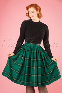 Collectif Clothing Jasmine Evergreen Check Swing Skirt 21910 20170606 01W