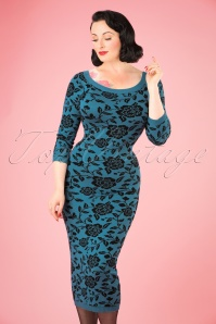 Collectif Clothing Ivana Kitted Dress in Blue 21973 20170615 01W