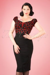 50s Magda Pencil Skirt in Black