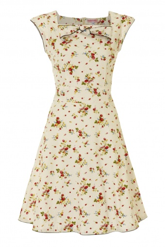100 - FLIRTY SQUARE NECK DRESS -CREAM SUMMER FRUITS