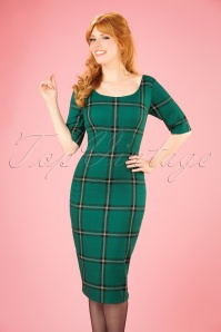 Collectif Clothing Amber Evergreen Check Pencil Dress 21976 20170612 0008W