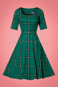 Collectif Clothing Amber Evergreen Checked Swingdress 21852 20170613 0016W