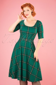 50s Amber Check Swing Dress in Green